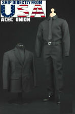 1/6 Men Business Suit Agent Set BLACK For Hot Toys Phicen Figure U.S.A. SELLER