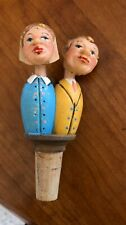 Vintage Anri Wooden Figure Mechanical Cork Bottle Stopper Kissing Couple bl/yell