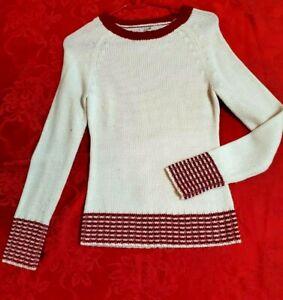 Grane Juniors Winter White/Red Round Neck Acrylic Knit Sweater Size S