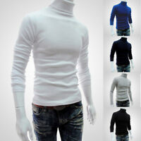 Men Polo Roll Turtle Neck Pullover Knitted Jumper Tops Slim Fit Sweater T Shirt