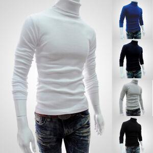 Mens Long Sleeve High Neck Knit Sweater Turtleneck Pullover Jumper Tops Pullover