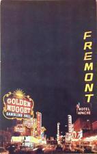 Fremont Street Scene At Night, Las Vegas, Nevada ca 1950s Vintage Postcard