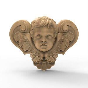 Wooden Angel Cherub Hand Carved Vintage Furniture Applique Center Piece Ornament