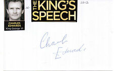 ENGLISH ACTOR CHARLES EDWARDS HANDSIGNED 6 x 4 AUTOGRAPHED WHITE CARD