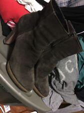 Prada Brown Suede Platform Ankle Booties Heel Size 41