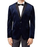 INC Mens Tuxedo Blazer Navy Blue Size 2XL Slim-Fit Velvet Peak Lapel $129 415