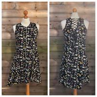 Vintage 1990's Skater Dress Black Floral Ditsy Fit & Flare Size 8 / 10 Grunge B4