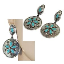 Big Earrings Clips Silver Plated Cabochon Turquoise Blue Jewel