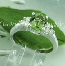 1.78 ct 14k Solid White Gold Diamond  Natural Green Tourmaline Ring 4.60 grams