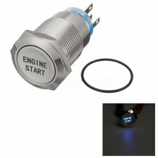 12V 19MM Waterproof Aluminum Momentary Engine Start Push Button Switch Blue