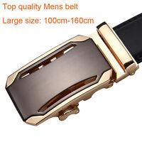 New Mens Business Belts Automatic Buckle Cow Leather Belt Waist Big Size S-9XL