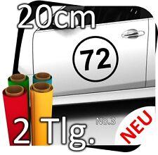 2x 20cm Nummer frei wählbar Startnummer Auto Autoaufkleber Mottorrad Sport No.3