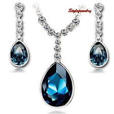 Silver Montana Blue Sapphire Teardrop Set Made With Swarovski Crystal N58IE70