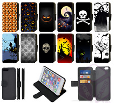 SPOOKY SCARY HALLOWEEN PUMPKIN SKULL GHOST Wallet Flip Phone Case iPhone (S2)