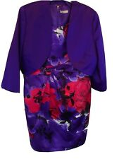 Precis Purple and Red Knee length dress and matching bolero jacket size 18