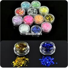 New 12 Colors Ice Mylar Glitter For Acrylic / UV GEL Nail Art Decoration ONMF