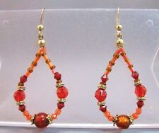 beads dangle hanging earrings Shades of red and orange