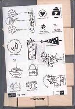 Stampin Up Tag Time Stamp Set NEW Wood UM Retired Tree To From Balloon Shower