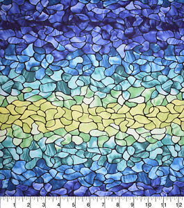Ombre Blue Stained Glass 100% cotton fabric Fat Quarter for face masks or crafts