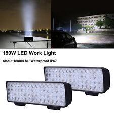 2X 180W 60 LEDs Work Light Bar Off-road Spotlight  SUV ATV Boat Fog Lamp 12V-24V