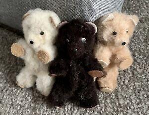 "Lot 3 RARE Antique/Vintage miniature Bear Trio Poland  3"" Fuzzy Cute Tags EUC!"