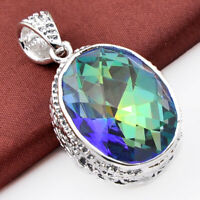 Natural Rainbow Fire Mystical Topaz Silver Oval Pendant Necklace 52 ct Xmas Gift