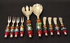 (10)Art Glass Beaded Handle Salad Server & Snacks Cheese Fork Knife Set Mirano?