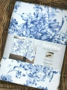 Parkview Blue Toile Floral 60 x 102 Tablecloth Indoor Outdoor Easy Care