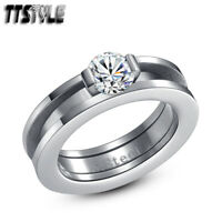 TTstyle 6mm Stainless Steel Wedding Band Ring Separate For Two