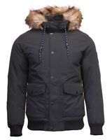 Jack & Jones New Mens Winter Bomber Jacket Hooded Outdoor Coat Fur Black