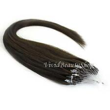 25 Micro Loop Ring Beads I Tip Indian Remy Human Hair Extensions Dark Brown #2
