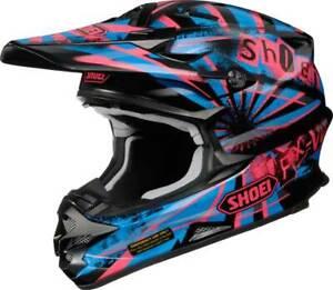 Shoei VFX-W Dissent TC7 Off Road Motorcycle Enduro MX Helmet - Black/Purp/Blue
