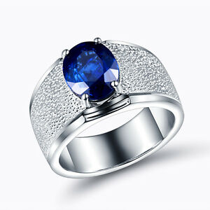 Real 18K White Gold Diamond Engaged Wedding Sapphire Band Ring Men Jewelry
