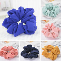 1PCS Trendy Hair Scrunchie Elastic Pure Color Hair Band Rope Ponytail Holder