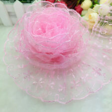 NEW Hot 5 Yards 65mm Pink Organza Lace Gathered Pleated Sequined Trim