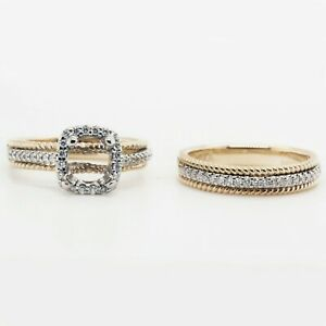 Engagement Setting for apprx 4.8mm Square with Wedding Band in 14k Gold