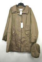 Cole Haan Signature Womens Packable Water Resistant Raincoat Long Sleeve Hood 1X