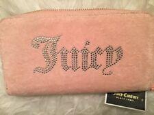 NEW! Juicy Couture Black Label Women's Wallet Pink Velour Zip Clutch, $198