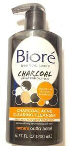 Lot of 3 Biore Charcoal Acne Clearing Cleanser 6.77 fl oz oily skin clears break