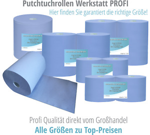 Putztuchrollen Putzpapierrolle blau   2-lagig/3-lagig   500/1000 Blatt   37/22cm