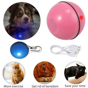 Self Rotating Ball Smart Interactive Cat Toy USB Build-in Spinning Led Light AU