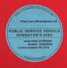 "Bus PSV Operators Disc 2001/2 ~ Plaza Cars Birmingham Ltd - ""O-Licence Disc"""