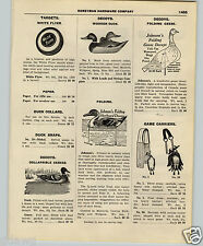 1927 PAPER AD Collapsible Canvas Duck Decoy Johnson's Folding Geese Cedar Wood