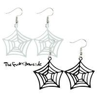 TFB - HAPPY HALLOWEEN SPIDER WEB DANGLE EARRINGS Funky Creepy Spooky Costume Fun