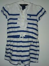 Baby Girl 12-month Ralph Lauren Romper. White Blue Striped