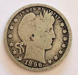 1896 - US Barber 90% Silver Quarter Coin