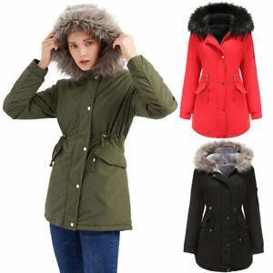 UK Women Winter Warm Thicken Zip Up Coat Ladies Hooded Parka Jacket Outwear Size
