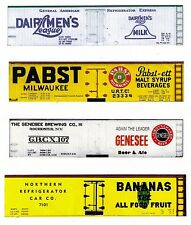 4 boxcars, Dairymen to Bananas, Z scale printed reefer sides