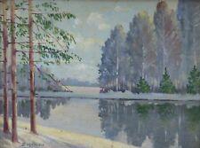 Huile sur toile signée: paysage de neige Russie ?école russe ?Suède ? norvège ?