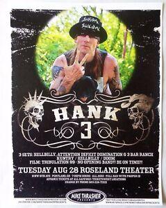 HANK WILLIAMS III 2012 Gig POSTER Portland Oregon Concert
